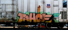 Tahoe (mightyquinninwky) Tags: railroad up train logo geotagged graffiti moving tag graf tracks rusty tahoe indiana railway motto tags h2o tagged southernindiana railcar rusted rails unionpacific weathered shield riverfront spraypaint graff graphiti freight rolling reefer ether inmotion trainart rollingstock paintedtrain armn ohiostreet railart spraypaintart ohiorivervalley movingart taggedtrain paintedsteel rollingart evansvilleriverfront movingfreight vanderburghcountyindiana paintedreefer buildingamerica geo:lat=37976803 paintedrailcar taggedreefer taggedrailcar taggedsteel geo:lon=87595662