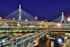 a Boston bridge (mudpig) Tags: longexposure bridge ice boston night geotagged ma massachusetts charlesriver walkway memorialbridge hdr bunkerhill zakim i93 leonardpzakimbunkerhillmemorialbridge mudpig interstate93 stevekelley