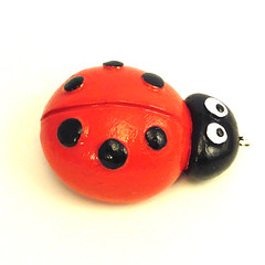 ladybug4 (CarzooCritters) Tags: red sculpture cute green yellow bug purple dragonfly bee periwinkle ladybug sculpted brightred sunshineyellow