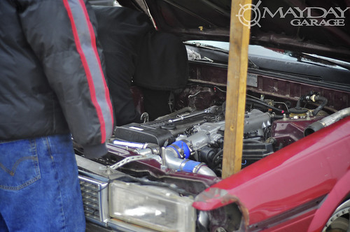 Heartbreaking moment: A blown turbo puts this drifter out of commission for the day.