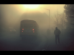 Ce matin (sparth) Tags: seattle morning bus silhouette yellow fog early washington foggy drop stop redmond schoolbus brouillard thick atmospheric brume sammamish 70200f4l 70200l 5dmarkii