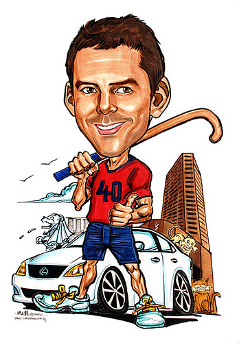 Caricature for STandard Chartered Bank Hockey Lexus SCB Building Merlion
