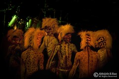 Dancing Tigers (Abhijith B.Rao) Tags: cats india smiling drums dance costume nikon bangalore tigers cheetah karnataka dressed fireflies artiste leopards energetic nikond80 nikkor18135mm hulivesha