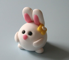 Bunny (fliepsiebieps1) Tags: pink white flower cute rabbit bunny yellow easter spring handmade polymerclay fimo round kawaii figure figurine fliepsiebieps