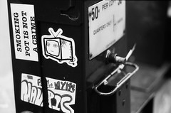Slightlynorth - TV (S.A. Young) Tags: bw streetart tv fomapan100 slightlynorth
