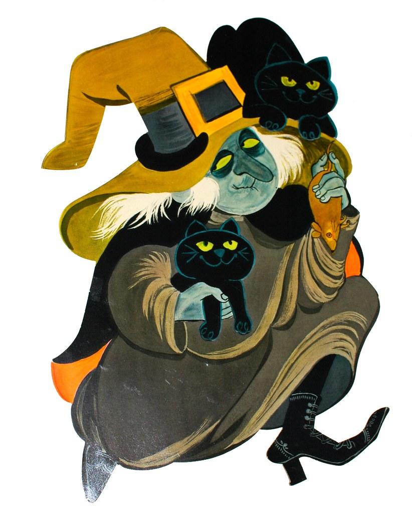 1960s halloween decorations - Vintage Halloween Hallmark Witch With Cats Die Cut Jenna Valentine Tags Decorations Halloween