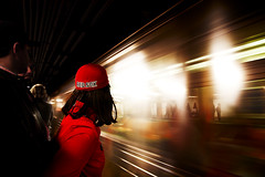 Fast (Lidia Camacho) Tags: red newyork girl speed train subway wagon moving movement waiting lift ride baseball wind sox redsox silhouettes fast movimiento jacket cap hood rapido espera swoosh estela