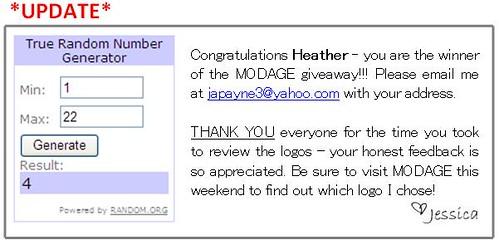 Modage Giveaway winner