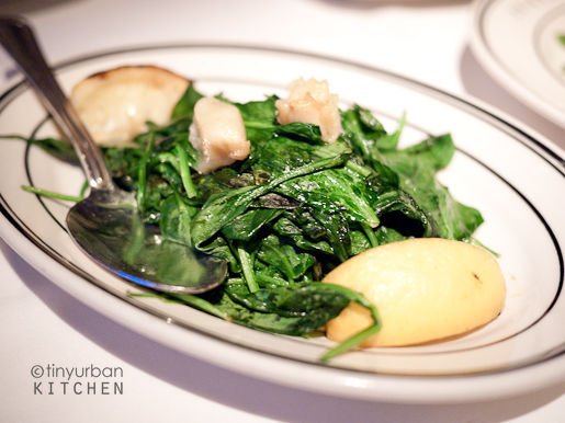 Garlic Spinach with grilled lemons