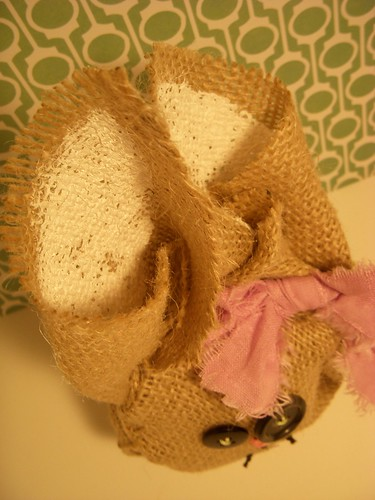 Painted ears of burlap bunny