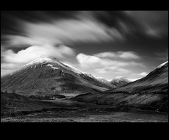 * (Chee Seong) Tags: uk longexposure shadow sky bw white snow black mountains tree clouds canon silver evening scotland movement glen hills highland filter nd pro nik beinn canon1740 1000x dorain efex 5dm2
