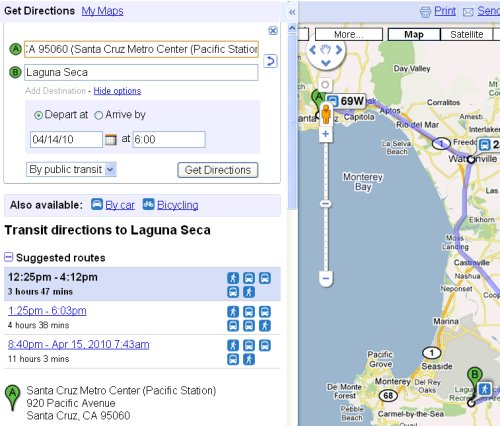 Sea Otter: Transit default directions
