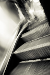 Back Over Your Shoulder (Jeremy Brooks) Tags: sanfrancisco california blackandwhite bw usa motion feet blackwhite escalator bart missiondistrict themission sanfranciscocounty