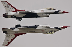 The mirror image pass (rakkasan69) Tags: speed canon mirror flying high andrews fighter jet pass tony formation airshow f16 falcon thunderbirds babcock usaf 2011 50d