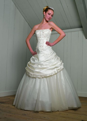 Strapless wedding dress with beads.