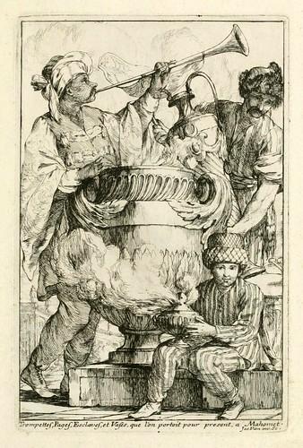 001-Trompeteros-pajes-esclavos y vasos que se llevaban para presentar  a Mahoma-Caravanne du sultan ala Mecque…1748- Joseph Vien