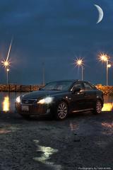 Lexus IS (Talal Al-Mtn) Tags: street blue light sea moon black beach rain weather night stars automobile photographer gulf shot automotive automatic kuwait 300 hamad kuwaitcity v6 rainny kwt lexusis canon450d inkuwait talalalmtn  3twealfrij