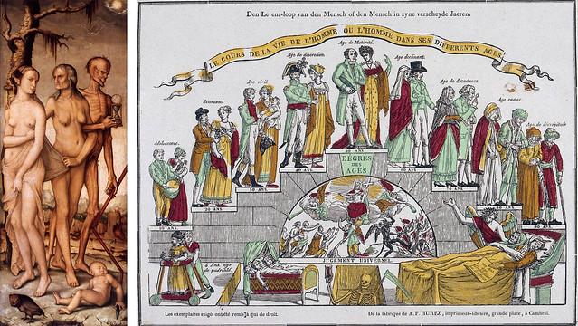 Hans Baldung Grien, Les trois âges de la vie, v. 1510 (Vienne, Kunsthistorisches Museum); A. F. Hurez, Degrés des âges, Cambrai, 1817-1832 (Paris, musée des arts et traditions populaires).