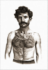 Hirsute European Man with Mustache, 1870s (newmexico51) Tags: shirtless portrait hairy man hair 19thcentury victorian handlebar mustache hombre anthropology barba homme 1877 nineteenthcentury lithograph ethnology 1870s hirsute ethnologie