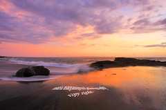 Evening Lights at Seseh Beach (Maaar) Tags: longexposure sunset bali seascape reflection rock landscape evening magic hours img0986 pantaiseseh sesehbeach pantaidibali