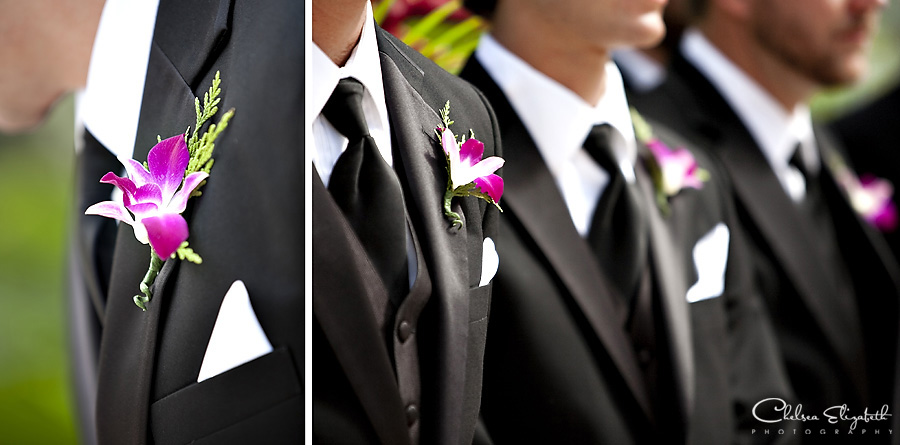 groomsmen ceremony line shot black tux and purple orchid flower image