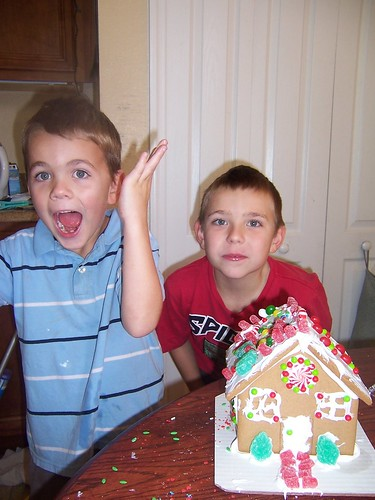 Trey and Adam with Gingerbread House