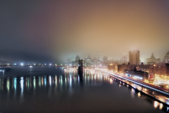 fog, new york city (mudpig) Tags: nyc newyorkcity longexposure bridge newyork reflection skyline brooklyn night geotagged cityscape traffic brooklynbridge eastriver hdr fdr lighttrail mudpig stevekelley