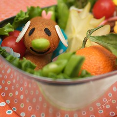 chili corndog bento - detail [explored] (gamene) Tags: orange cheese chili tomatoes tofu asparagus vegetarian corndog bento snowpeas starfruit vegetarianham