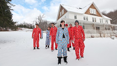 new years crew (sgoralnick) Tags: new friends ny farmhouse upstate upstateny newyears paulfrank pajamas partyhouse flannelpajamas matchingpajamas monkeyprint