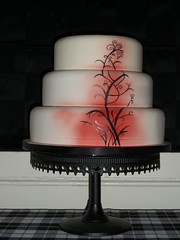 handpainted wedding cake (Pagancakegirl) Tags: wedding red black cakes hand painted elegant simple dawns wwwauroracakescom