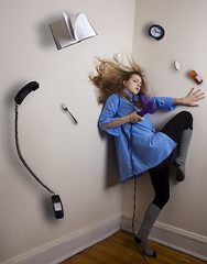 Unhinged (Leah Johnston) Tags: portrait selfportrait alarm clock socks photomanipulation self canon hair book phone leah telephone levitation fork manipulation pills float blueshirt dryer johnston kneehighs perscription leahjohnson leahjohnston leahjohnstonphotography leahjohnstonphotos