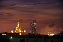 Night cityscape with dramatic sky (Dmitry Mordolff) Tags: life street travel winter light sunset sky urban sunlight house snow building tower skyline architecture night skyscraper outdoors office site twilight construction downtown cityscape exterior view traffic russia crane dusk moscow district horizon cities scene panoramic aerial illuminated steam business tall residential cloudscape kremlin fume