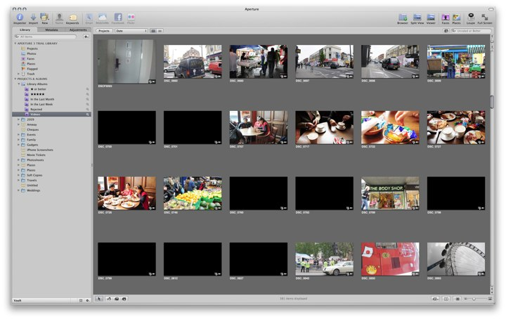 Missing video thumbnails in Aperture 3