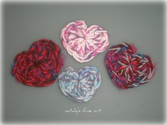 Crochet Heart brooches