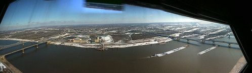 Panorama of the Mississippi from the top of the St Louis Arch