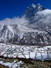 Ama Dablam-Dingboche-Everest Base Camp Trek-Nepal (mikemellinger) Tags: nepal camp mountain snow ice nature beauty clouds trekking trek landscape nationalpark scenery hiking hike region khumbu everest range base himalayas amadablam sagarmatha dingboche