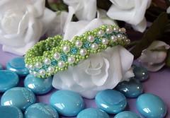 April's Reign Handwoven Bracelet (fivefootfury) Tags: spring handmade jewelry bracelet raindrops beaded skyblue beadwork brightgreen springgreen aprilshowers beadweaving fivefootfury