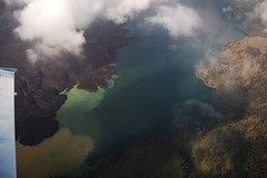 Crater Lake atop Mt. Rinjani (Blue Barnacle) Tags: lake indonesia island volcano islands over mount crater gili airborne lombok birdseyeview anak rinjani segara