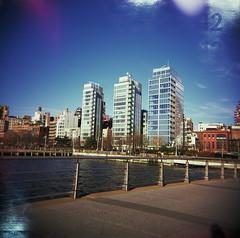 10. Richard Meier et son double (12th St David) Tags: nyc newyork 120 film mediumformat square holga manhattan slide hudsonriverpark hudsonriver greenwichvillage fujivelvia100