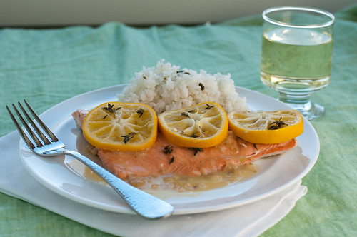 Salmon in a Meyer Lemon Wine Broth
