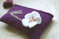 spring and a blossom...wool felt mini zip pouch