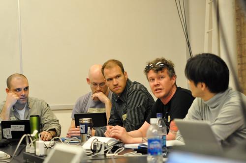L to R: John Dimatos, Clay Shirky, Nathan Seidle, J. Eric Townsend, Shigeru Kobayashi.