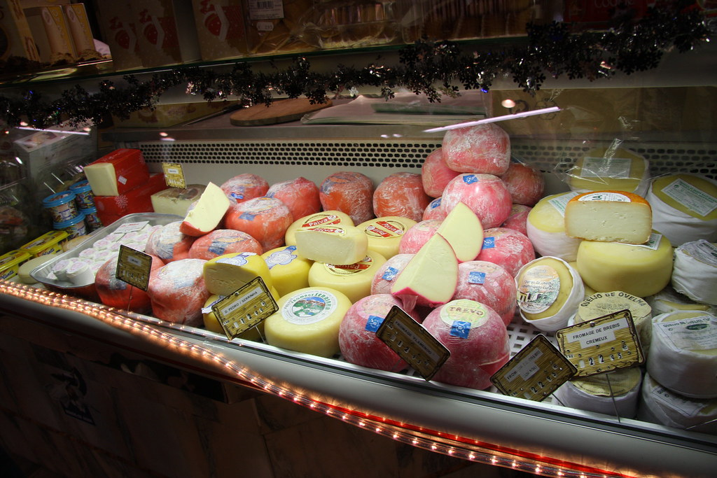 cheese at a market in paris