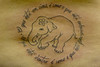 Elefantinha com escrita Baby elephant with
