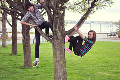 67/365 This is what happiness looks like (just_makayla) Tags: park trees friends boy girl grass smiling bench happiness tagged 365 inatree plaid treeclimbing