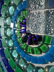 Ungrouted glass and glitter tile mosaic mirror (fiona parkes) Tags: mosaic