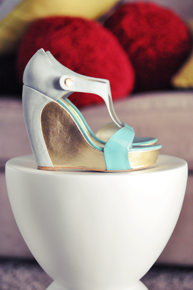 Velvet Angels aqua and  gold wedges
