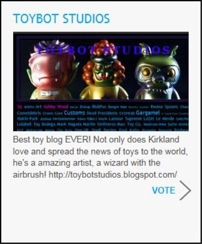 tbs for Best Blog at Designer Toy Awards