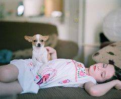 (andrew sea james) Tags: portrait dog chihuahua color 120 film girl mediumformat puppy fuji child pentax lasvegas nevada pro 6x7 smc 105mm f24 400h