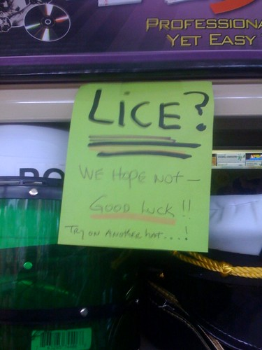 LICE? WE HOPE NOT — GOOD LUCK!! TRY ON ANOTHER HAT....!